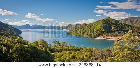 Panoramatic View Of Cook Inlet From Queen Charlotte Drive Near Picton, Marlborough Departament, New