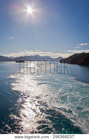 Waves Behind Ship Crossing Cook Inlet From North Island Of New Zealand To South Island