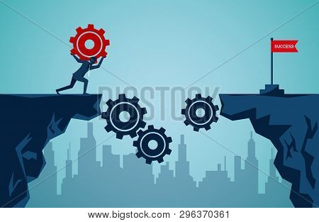 Business Finance Success Concept.  Businessman Who Raised The Red Gear To Be A Bridge Leads To The G
