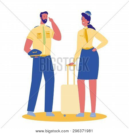 Pilot And Stewardess Vector Cartoon Illustration. Female Flight Attendant With Suitcase. Woman And M