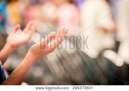 Hands Raised Like Praying Or Worshiping God