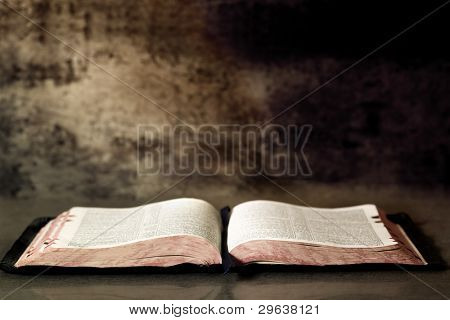 Open Bible, with textured granite background.
