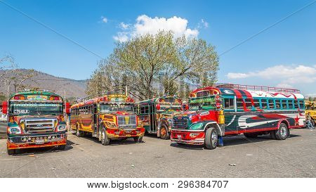 Antigua,guatemala - March 4,2019 - At The Bus Station Of Antigua Guatemala. Antigua Guatemala It Ser