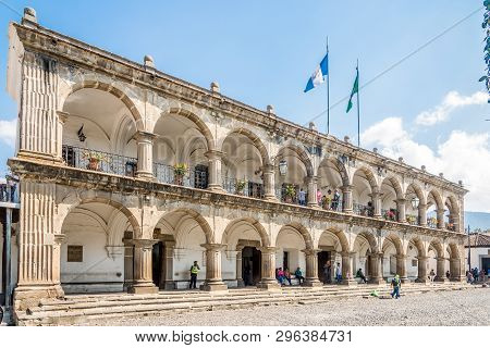 Antigua,guatemala - March 4,2019 - View At The City Hall In Antigua Guatemala. Antigua Guatemala It
