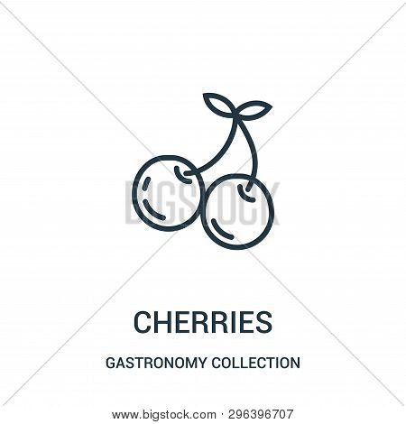 Cherries Icon Isolated On White Background From Gastronomy Collection. Cherries Icon Trendy And Mode