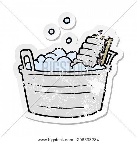 distressed sticker of a cartoon old washboard and bucket
