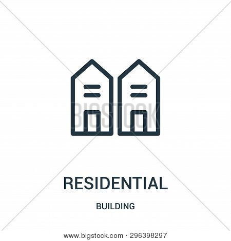 Residential Icon Isolated On White Background From Building Collection. Residential Icon Trendy And