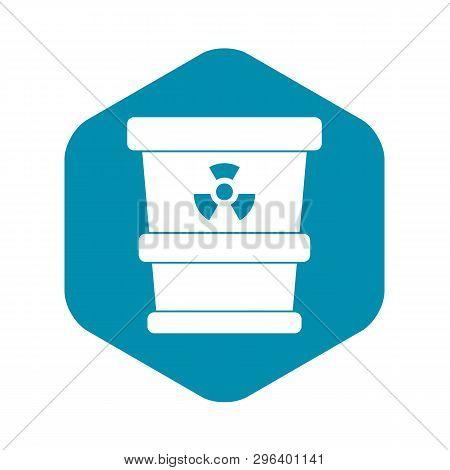 Trashcan Containing Radioactive Waste Icon. Simple Illustration Of Trashcan Containing Radioactive W