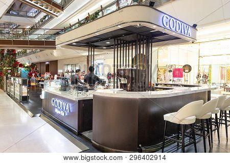 Kuala Lumpur, Malaysia, April 18, 2019:  Godiva Chocolatier Is A Belgian Manufacturer Of Chocolates