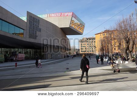 Rome, Italy - January 5 2019:  Outside Maxxi, Museum Of Arts Of The Xxi Century By The Anglo-iraqi A