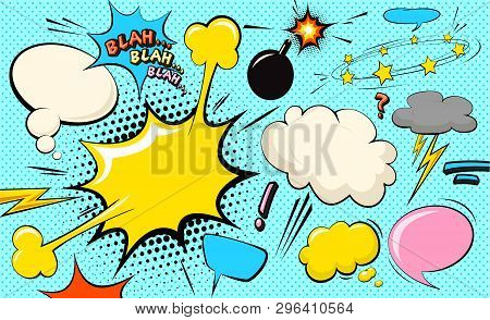 Pop Art Cloud Bubble. Blah, Blah, Blah Funny Speech Bubble. Trendy Colorful Retro Vintage Comic Back
