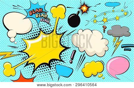 Pop Art Cloud Bubble. Blah, Blah, Blah Funny Speech Bubble. Trendy Colorful Retro Vintage Comic Back