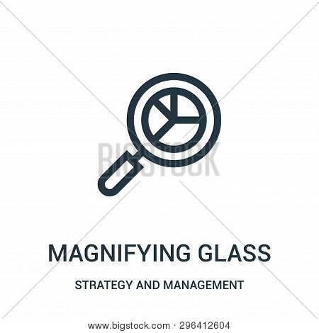 Magnifying Glass Icon Isolated On White Background From Strategy And Management Collection. Magnifyi