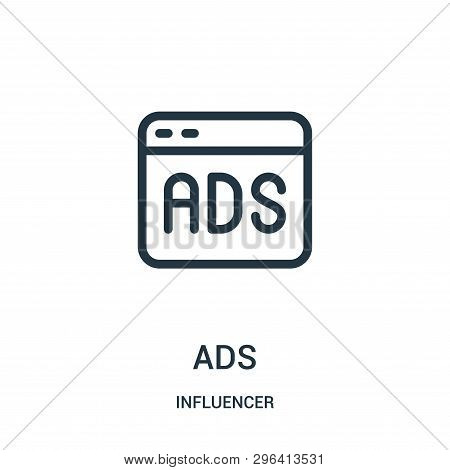 Ads Icon Isolated On White Background From Influencer Collection. Ads Icon Trendy And Modern Ads Sym