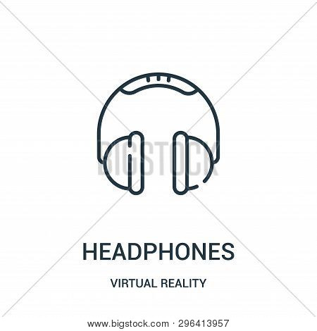Headphones Icon Isolated On White Background From Virtual Reality Collection. Headphones Icon Trendy