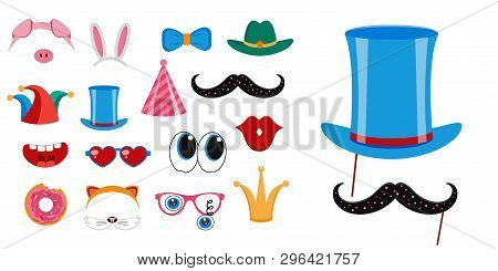 Photo Booth, Scrapbooking Props Icon Set Vector Illustration. Collection Of Design Elements Such As