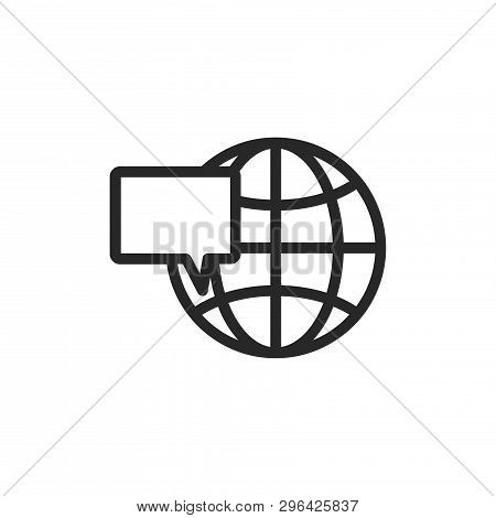 Web Globe And Speech Bubble Icon Isolated On White Background. Web Globe And Speech Bubble Icon In T