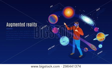 Astrophysics Augmented Reality Application Isometric Composition With Ar Glasses Open Space Experien