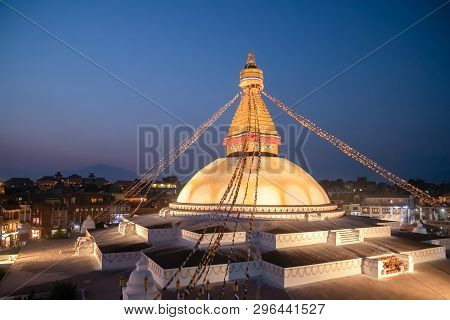 Kathmandu Nepal Boudhanath Stupa Is One Of The Largest Buddhist Stupas In The World. It Is The Cente