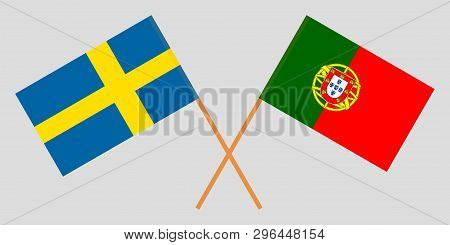 Portugal And Sweden. The Portuguese And Swedish Flags. Official Colors. Correct Proportion. Vector I