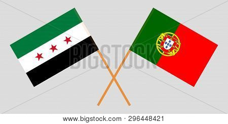 Portugal And Interim Government Of Syria. The Portuguese And Coalition Flags. Official Colors. Corre