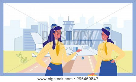 Stewardess In Airport Color Vector Illustration. Flight Attendant. Colleagues Talking. Airlines. Air