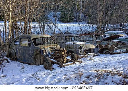 Old Rusty Car Wrecks In A Car Cemetary In Winter.