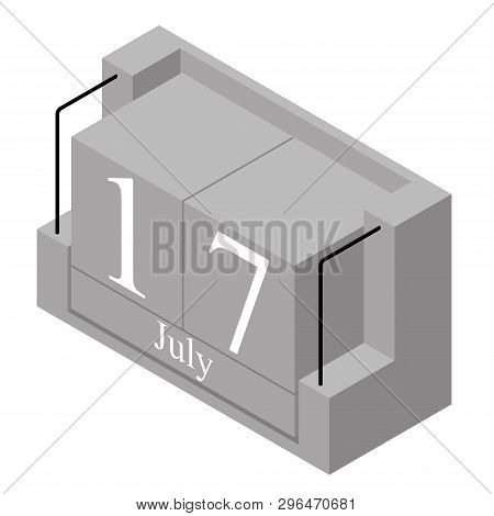 July 17th Date On A Single Day Calendar. Gray Wood Block Calendar Present Date 17 And Month July Iso