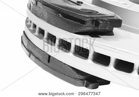 Brake Disc And Brake Pads Isolated On White Background. Auto Parts. Brake Disc Rotor Isolated On Whi