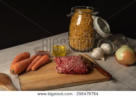 Still Life Of Minced Meat, Preparation Of Macaroni Bolognese