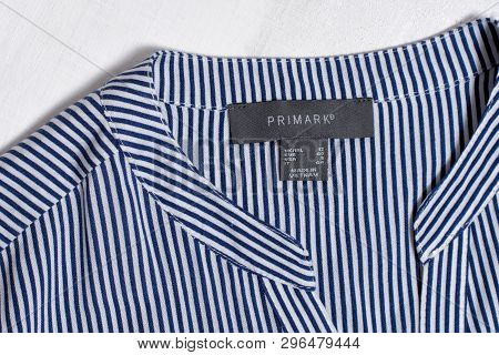 Kharkov, Ukraine - March 04, 2019: Label Primark On Striped Blouse. Fashion Concept. Close Up