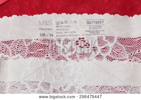 Kharkov, Ukraine - March 04, 2019: Label Of White Lace Lingerie M&s. Close Up