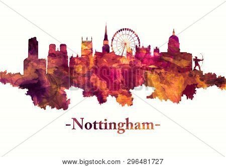 Red skyline of Nottingham, a city in central Englands Midlands region poster
