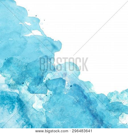 Watercolor Abstract Background With Blue And Turquoise Splashes Of Paint On White. Hand Painted Text