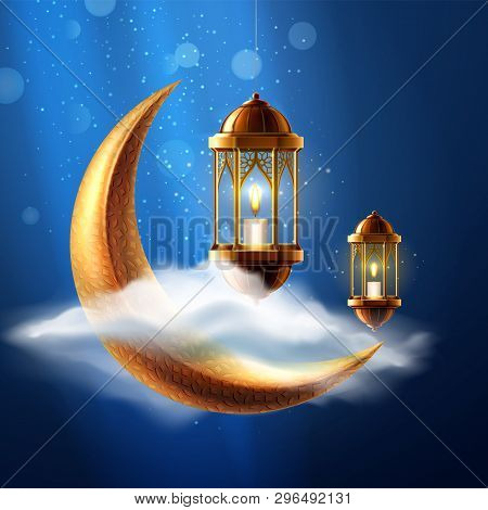 Night sky with crescent and lantern for ramadan holiday card. Background for ramazan mubarak or kareem. Poster for Eid al Fitr or al Adha. Muslim or islamic, arabian celebration. Religious poster poster
