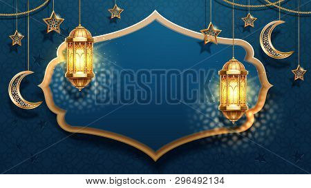 Eid Mubarak Card Decoration With Fanous Or Lantern, Fanoos Or Light With Candle, Stars And Crescent.