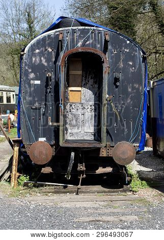 Old Engish Disused Railway Carriage Showing Coupling Section With Bumpers