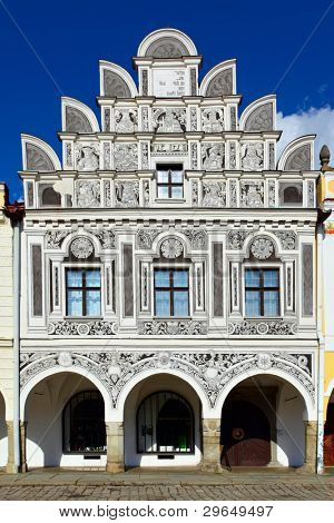 Facade of the house in Telc town, Czech Republic
