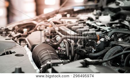 Car And Engine Service Concpet - Blurred Car Engine Room Checking Maintenance Sevice By Mechanical W