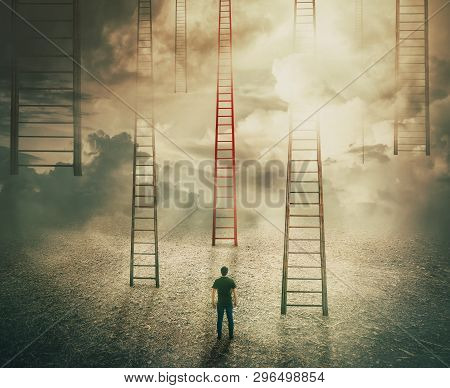 poster of Man standing in front of huge ladders going up to the sky. Choosing a different red stairway to unknown. Business opportunity, concept of career development. Way to future success, difficult decision.