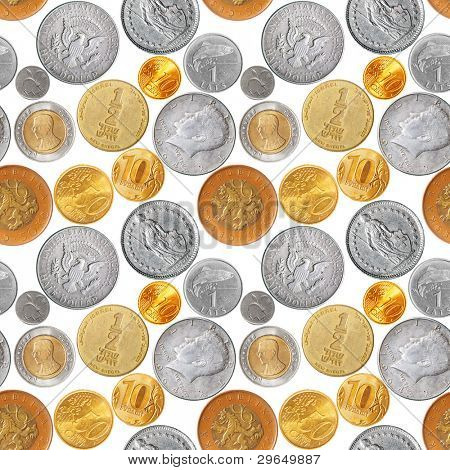 Seamless pattern - Various coins isolated over the white background
