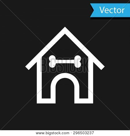 White Dog house and bone icon isolated on black background. Dog kennel. Vector Illustration poster