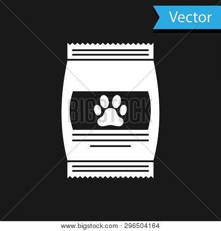 White Bag Of Food For Pet Icon Isolated On Black Background. Food For Animals. Pet Food Package. Dog