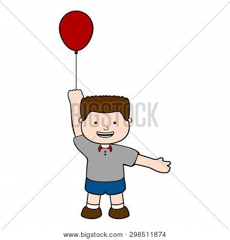 Happy Boy With A Red Balloon. Vector Illustration Design