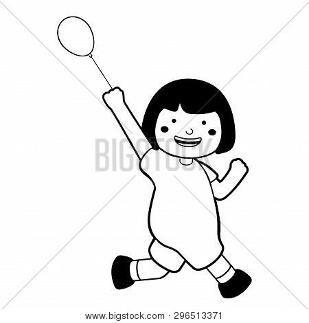 Happy Girl Running With A Balloon Icon. Vector Illustration Design