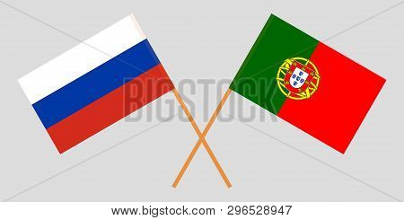 Portugal And Russia. The Portuguese And Russian Flags. Official Colors. Correct Proportion. Vector I