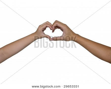 Heart hand by men and women