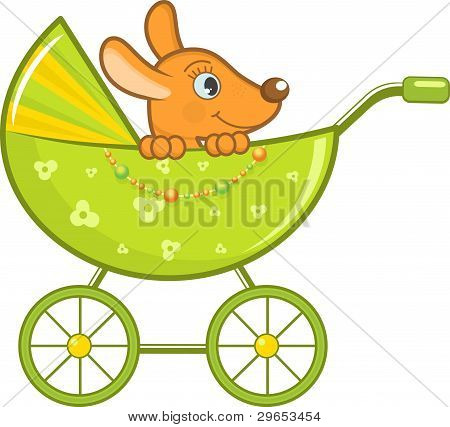 Baby animal in the stroller, vector illustration