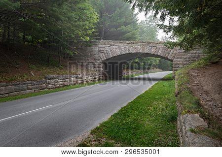 Historic Stone Bridge In Acadia National Park - Mt Desert Island, Maine, Usa
