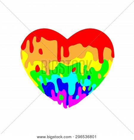 Fluid Heart Flowing, Multicolored Paint Of Colored Figures On Light Background For Valentines Day. M
